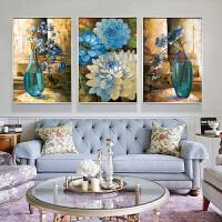 2019新品印花十字绣客厅大幅卧室简约现代三联画平安富贵花瓶