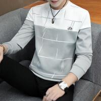 秋冬装男士长袖T恤加绒加厚潮流男装韩版修身圆领卫衣学生上衣服