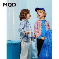 MQD童装男童长袖衬衫2020春秋新款上衣中大儿童格纹格子衬衣潮