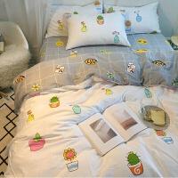 床品四件套可爱简约清新床单北欧三件套四件套床上用品猫咪适用套件纯色水洗床笠款定制