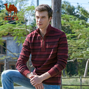 Camel骆驼  男装 秋装新款 男士长袖T恤 男款商务休闲t恤 男士棉T恤