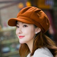韩版羊毛呢八角帽女英伦复古秋冬季报童帽潮流百搭日系文艺鸭舌帽