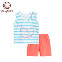 夏季薄款儿童无袖两件套宝宝夏装衣服 男女童条纹背心套装