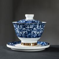 唐丰青花盖碗家用描金三才碗大号陶瓷泡茶碗白瓷功夫茶碗
