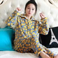 冬季法兰绒睡衣女珊瑚绒开衫韩版卡通家居服加厚两件套装大码