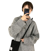 秋季女装韩版中长款宽松厚实POLO领慵懒风针织衫港味复古毛衣上衣 均码