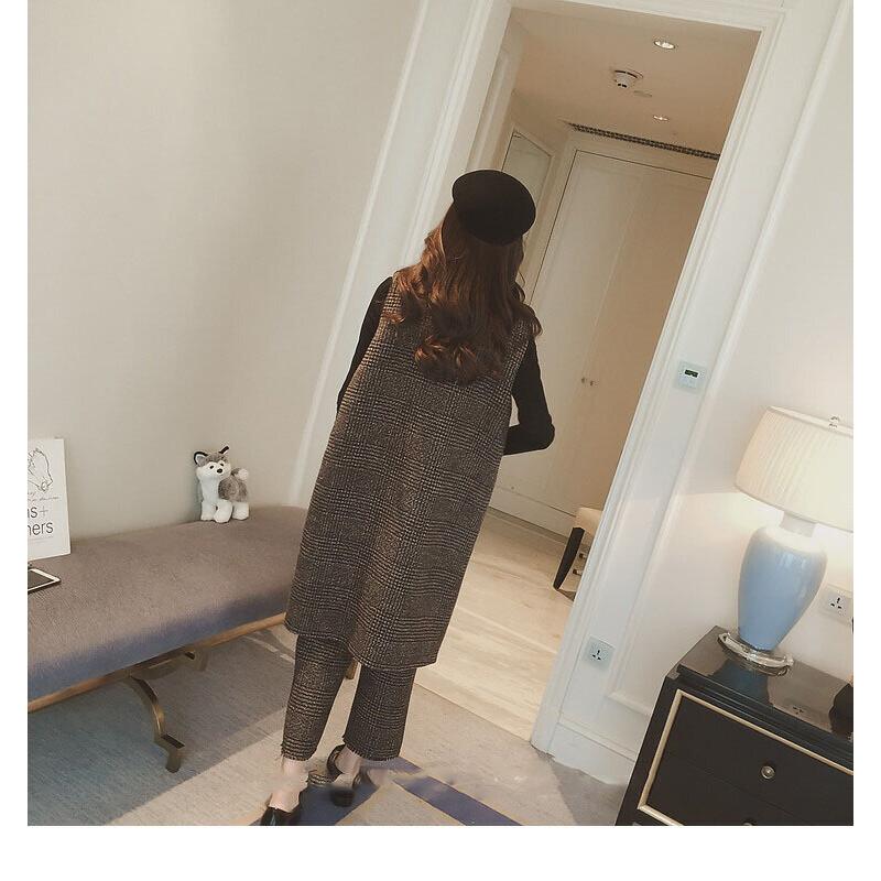洋气时尚中厚套装女秋冬大码毛呢格子外套马甲阔腿裤两件套潮 图片色