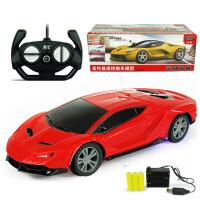 充电遥控车彩灯轮遥控汽车电动儿童玩具车赛车模型批发 兰博 红色 充电 1:24