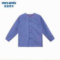 蒙蒙摩米男童衬衫夏长袖薄纯棉宝宝格子休闲衬衣1-3岁中小男孩