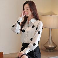 雪纺衬衫女长袖秋装新款白色波点宽松显瘦韩版洋气衬衣9375#