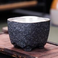 【热卖新品】日式鎏银茶杯陶瓷四方杯镶银青岩鼎杯复古主杯茶碗999银