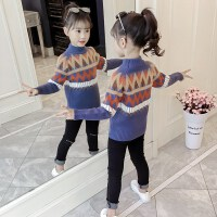 女童洋气保暖套头毛衣线衣2019冬季新款中大儿童加绒加厚针织打底衫