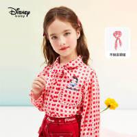 9.25超品返场【2.5折预估价:76.2元】迪士尼女童红色长袖衬衫2021春装童装时尚洋气儿童宝宝上衣