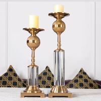 欧式样板房酒店奢华软装饰品金属古铜烛台摆件简约北欧餐桌厅摆设