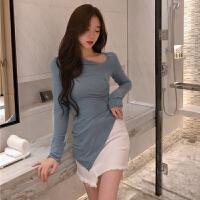 港味修身打底针织衫女春装新款斜领纯色长袖上衣不规则中长款T恤