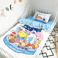 油爆叽丁全棉幼儿园可爱卡通三件套纯棉儿童床单宝宝亲子款四件套定制