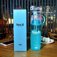 【优选】喷雾水杯创意运动补水杯定制便携式水壶塑料杯实用礼品杯子印LOGO 蓝色 600ml