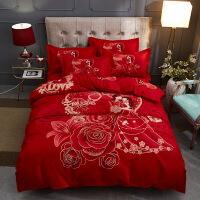 婚庆四件套全棉大红色被套件结婚嫁纯棉床单结果简单婚礼双喜床品