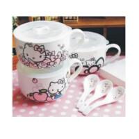 可爱彩绘hello kitty陶瓷泡面碗 密封保鲜盒圆饭盒