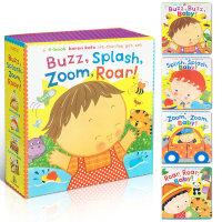 顺丰发货 Buzz, Splash, Zoom, Roar! 4本纸板书盒装 Karen Katz 幼儿启蒙认知英文原版翻翻书 趣味童书 动物之声