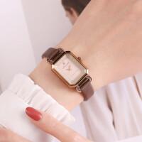 女表简约长方形复古皮表带手表女气质OL女士表