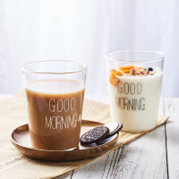 good morning早安杯玻璃创意早餐牛奶杯果汁杯柠檬水杯