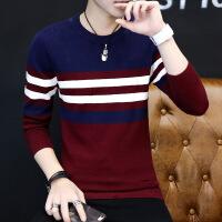 毛衣男圆领韩版学生秋季毛衫条纹修身线衣潮流长袖针织衫上衣男装