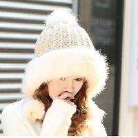 帽子女秋冬天雷锋帽防风保暖棉帽加厚加绒针织帽毛线护耳蒙古帽女