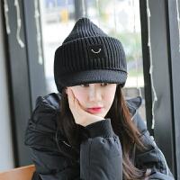 鸭舌毛线帽子男女士情侣冬天季时尚潮韩版保暖笑脸护耳加厚尖尖帽