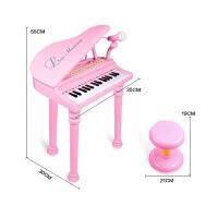 儿童玩具多功能儿童电子琴带麦克风早教音乐小钢琴益智玩具一件 粉色