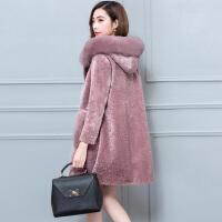 羊剪绒大衣女新款2018冬季韩版中长款皮草外套女连帽
