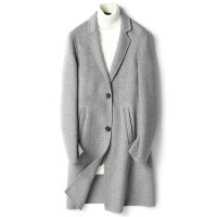 新款毛呢大衣男中长款英伦风混纺羊毛呢子大衣双面呢外套零羊绒混纺风衣男