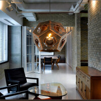 北欧loft工业风复古铁艺菱形多面体吊灯美式乡村i咖啡厅餐厅酒吧吊灯饰 吊灯(送光源)