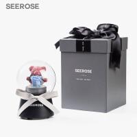 音乐盒永生玫瑰花玻璃罩苔藓小熊摆件情人节表白生日礼物