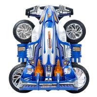 翻斗战士2.4G无线遥控车特技漂移四驱赛车高速汽车越野车儿童玩具 蓝色 大号 +1组充电电池(共2组)