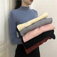 半高领套头毛衣打底衫女春装韩版新款chic百搭修身紧身针织衫上衣
