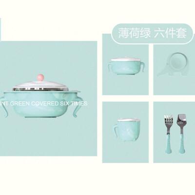 保温碗宝宝注水婴幼不锈钢吃饭碗勺婴儿辅食碗吸盘碗yw wk-174