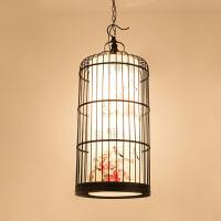 新中式铁艺鸟笼吊灯创意酒店大堂灯酒吧咖啡厅灯具喜庆红灯笼挂灯