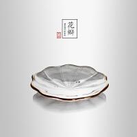 当当优品 锤目纹描金花瓣茶托 光阴系列 加厚玻璃隔热垫 功夫茶具配件