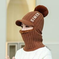 帽子女冬天加绒加厚骑车防风帽保暖护耳帽围脖冬季防寒毛线帽女