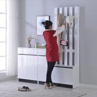 鞋柜家用门口简约现代收纳玄关柜挂衣架大容量隔断换鞋凳组合烤漆 组装