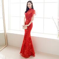 鱼尾敬酒服新娘旗袍女2018新款秋冬季长款红色结婚礼服裙中式显瘦