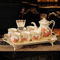 送新人结婚礼物实用闺蜜新婚礼品乔迁新居创意欧式茶具套装带托盘 玫瑰 6杯1壶1托(礼盒)