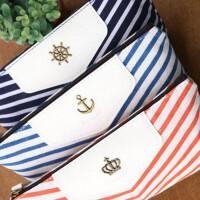 创意文具韩国文具袋 条纹创意文具铅笔袋盒 海军风格学生三角布笔袋