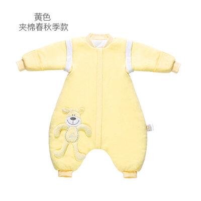 宝宝睡袋 防踢被婴儿睡袋分腿春秋儿童防踢被宝宝彩棉连体睡衣新生儿可拆袖睡袋wk-48