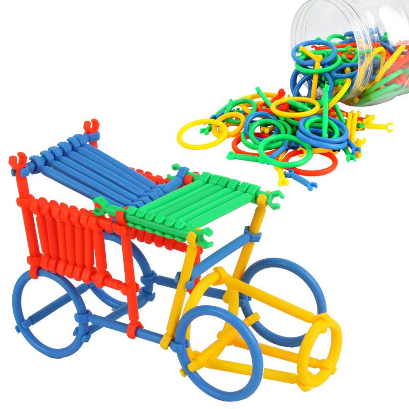 聪明智慧棒插管玩具 桶装塑料拼插积木 儿童益智玩具 3-7岁益智玩具限时钜惠