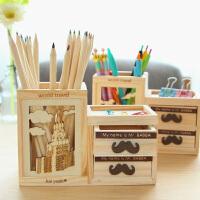 日韩创意文具 镂空铁塔笔筒 木质双层抽屉笔筒 七巧板笔筒