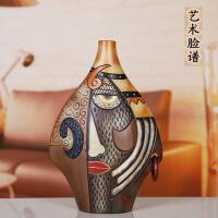 创意酒柜装饰品摆件 欧式客厅云南民族风特色工艺品 家居电视柜摆设 飞燕瓶 脸谱