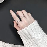 设计简约几何开口戒银戒指女日韩潮人学生个性食指戒指环女