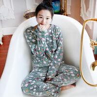 韩版珊瑚绒睡衣女士秋冬季加厚长袖法兰绒大码家居服套装